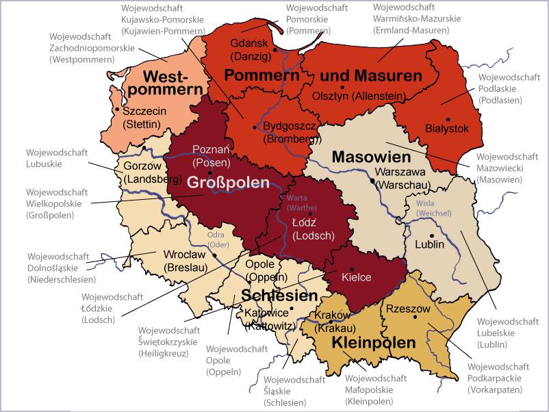 landkarte von polen Landkarte Polen detailliert   Reiseagentur Schönes Polen landkarte von polen